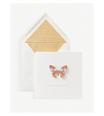 SMYTHSON Floral butterfly mother's day card (White