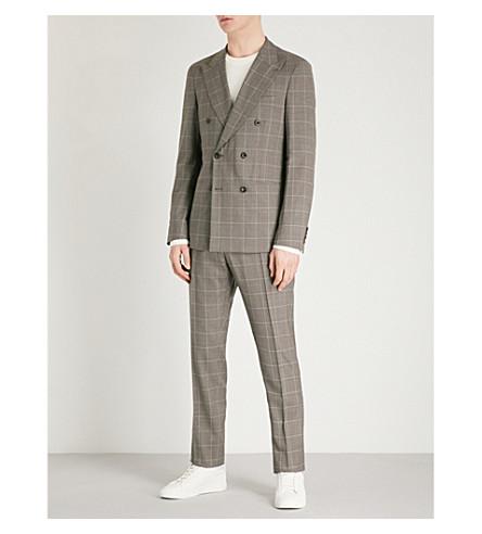 REISS Belvedere slim-fit double-breasted wool suit (Brown
