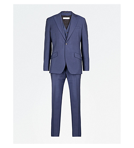 REISS Dissolve modern-fit wool and mohair-blend three-piece suit (Bright+blue