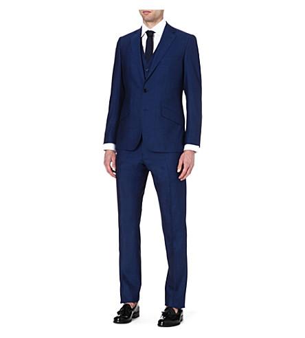 REISS Lungano three-piece wool suit (Blue