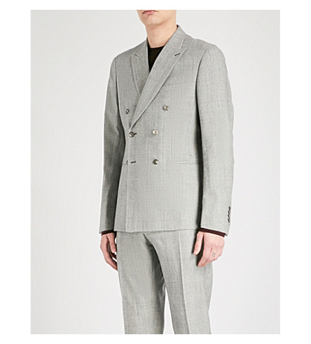 REISS Battalion slim-fit stretch-wool jacket (Grey