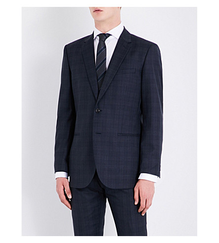 REISS Chester modern-fit check wool jacket (Navy