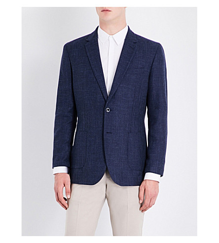 REISS Eldo modern-fit cotton and wool-blend jacket (Indigo