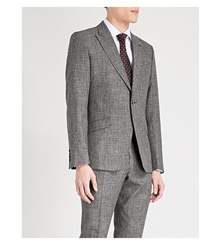 REISS Stow slim-fit wool and cotton-blend jacket (Grey