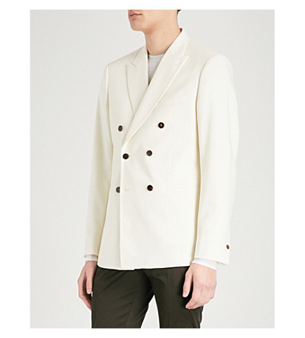 REISS Mask slim-fit wool tuxedo jacket (Off+white