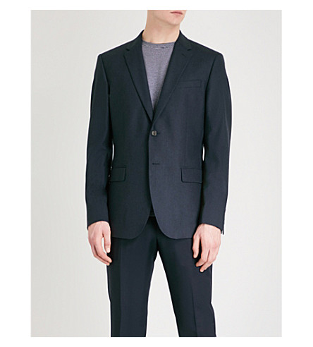 REISS Norona B tailored-fit wool jacket (Indigo