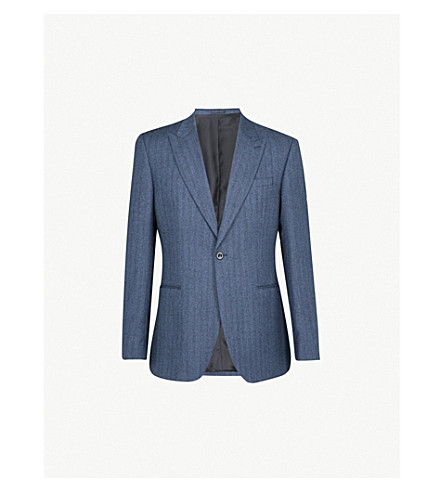 REISS Ossian checked modern-fit wool jacket (Indigo