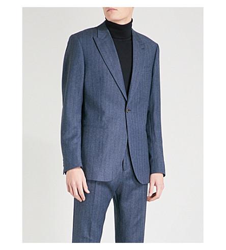 REISS 奥西恩格纹现代适合羊毛夹克 (靛蓝