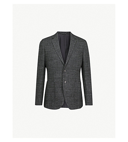 REISS Retreat modern-fit cotton and wool-blend jacket (Charcoal