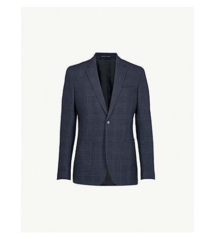REISS Zanni checked modern-fit wool-blend jacket (Navy