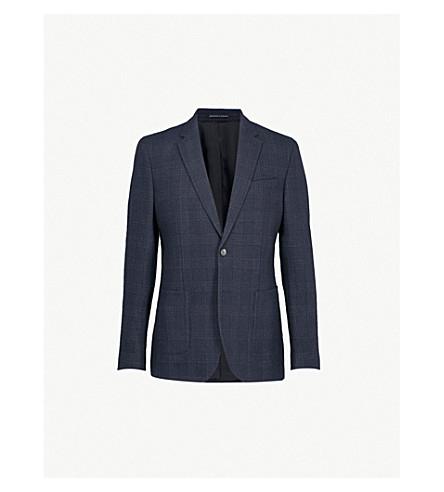 REISS Zanni 方格摩登版型羊毛混纺夹克 (海军