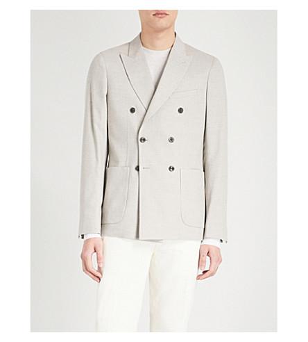 REISS Paulo slim-fit wool-blend jacket (Stone