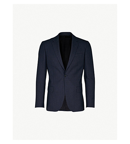 REISS Denza slim-fit wool and silk-blend jacket (Navy