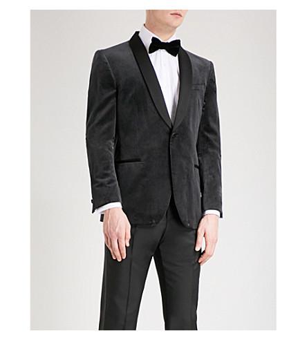 REISS Wolf modern-fit velvet tuxedo jacket (Charcoal