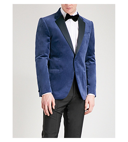 REISS Gladiator modern-fit velvet tuxedo jacket (Bright+blue