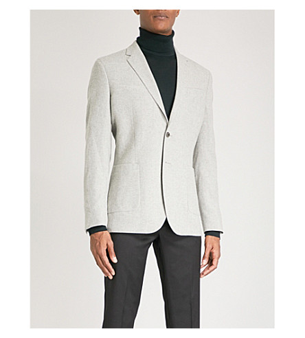REISS Sodium modern-fit wool-blend jacket (Soft+grey