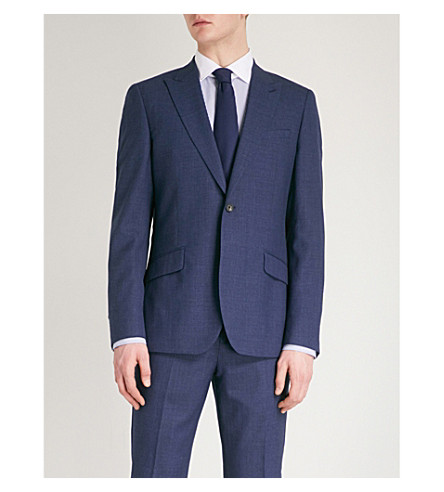 REISS Rover B modern-fit wool-blend jacket (Bright+blue
