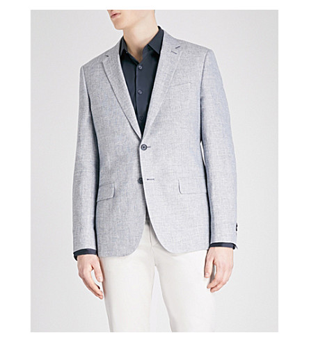 REISS Amatrice modern-fit linen-blend jacket (Soft+blue
