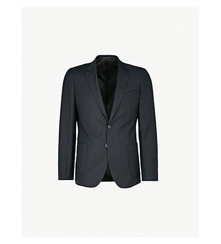 REISS Throttle slim-fit cotton and linen-blend jacket (Navy
