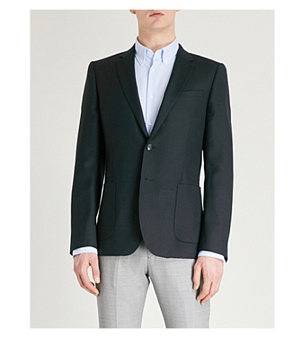 REISS Throttle slim-fit cotton and linen-blend jacket (Navy
