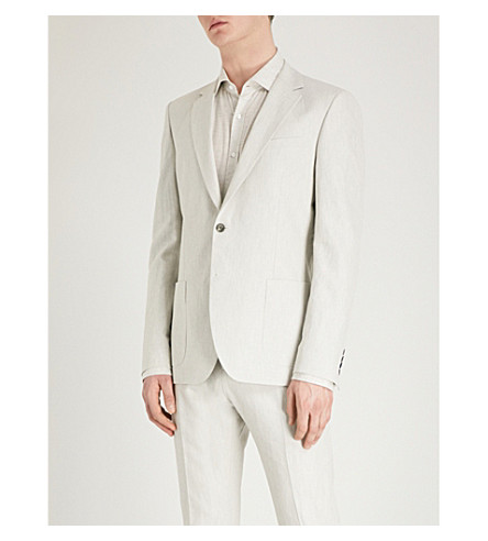 REISS Chilwa cotton and linen-blend jacket (Natural