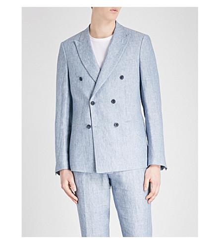 REISS Miami slim-fit linen jacket (Soft+blue