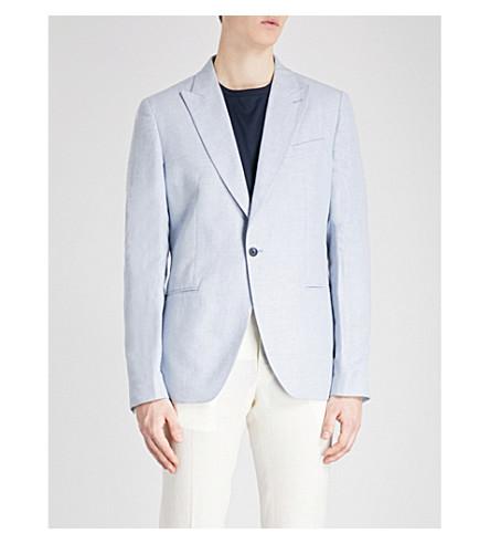 REISS Jaydon slim-fit cotton and linen-blend jacket (Light+grey