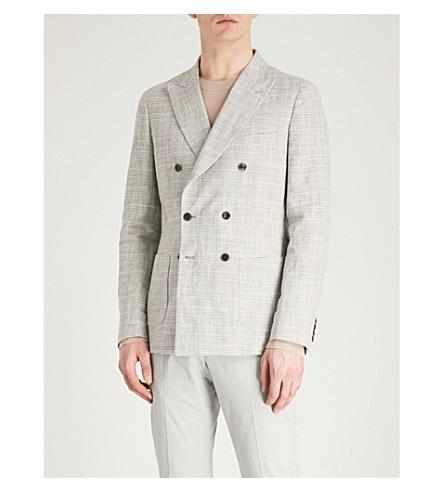 REISS Reggie slim-fit cotton and linen-blend jacket (Light+grey