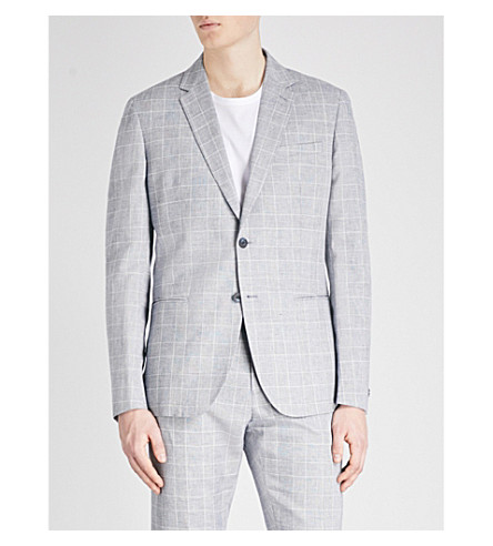 REISS Kray slim-fit checked cotton and linen-blend jacket (Blue