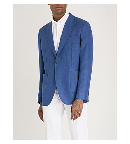 REISS Wooten slim-fit wool jacket (Bright+blue