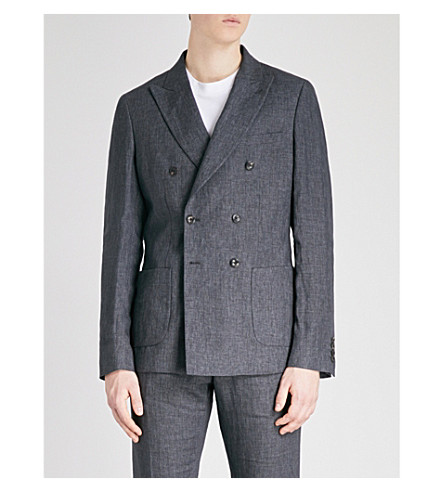 REISS Leach slim-fit linen jacket (Charcoal