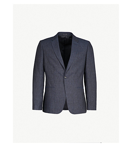 REISS Portofino slim-fit linen jacket (Indigo
