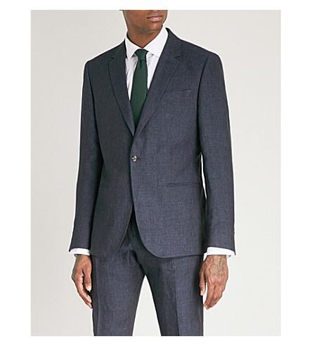 REISS Portofino slim-fit linen jacket (Indigo