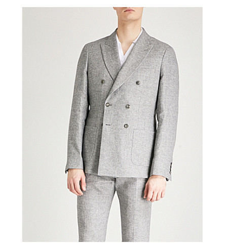 REISS Tribe B slim-fit linen and cotton-blend blazer (Grey