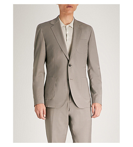 REISS Pryce slim-fit stretch-wool jacket Taupe Best Place To Buy Cheap Sale Extremely oMKs953u