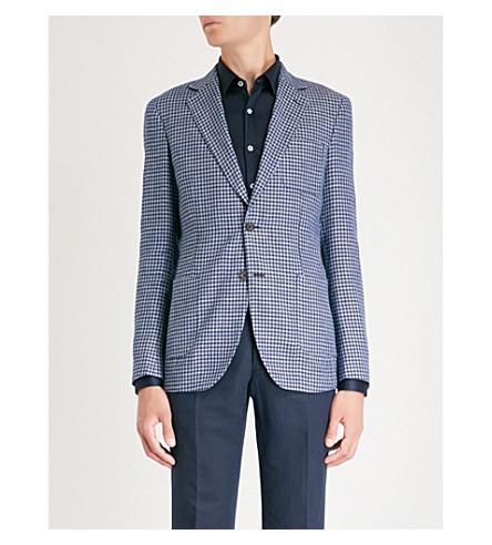 fit slim blend houndstooth linen Navy pattern Tense jacket REISS IRqgw