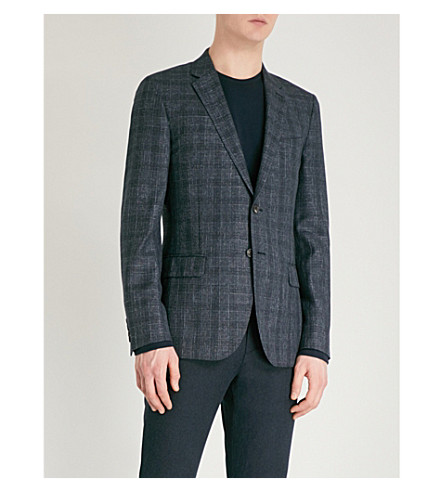 REISS Gregory checked modern-fit wool-blend jacket (Blue