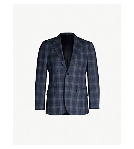 REISS Bond checked slim-fit wool blazer (Airforce blue