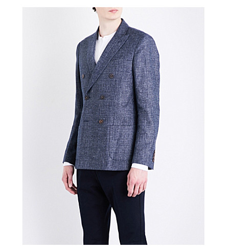 REISS Robson double-breasted modern-fit linen and wool-blend jacket (Indigo