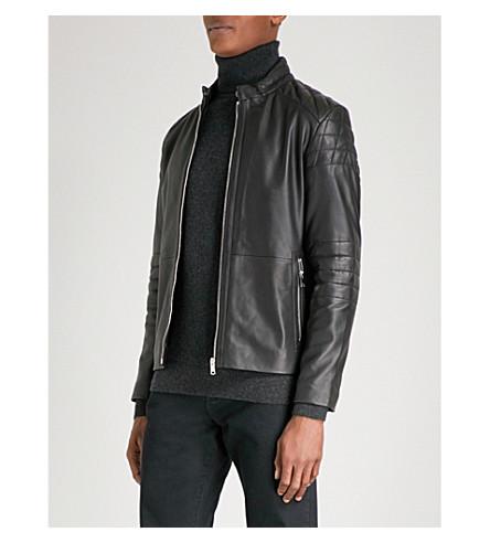 REISS Hatchet leather biker jacket (Black