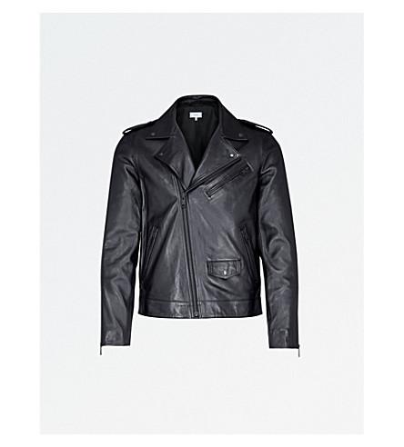 REISS Hendrix leather jacket (Black