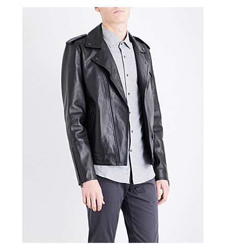 REISS Hendrix leather jacket (Black