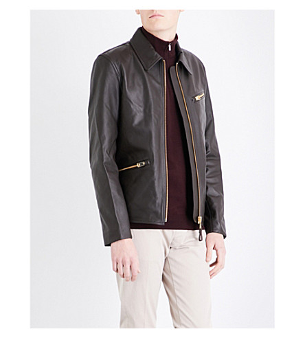 REISS Hopper leather jacket (Brown