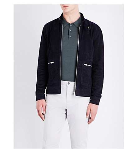 REISS Eli suede patch pocket jacket (Navy