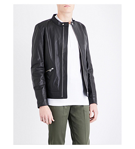 REISS McKnight leather jacket (Black