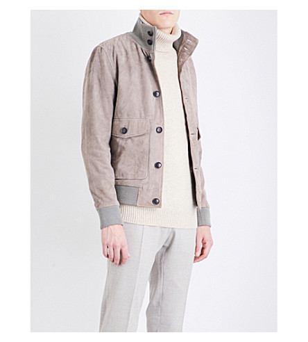 REISS Connor funnel-neck suede jacket (Stone