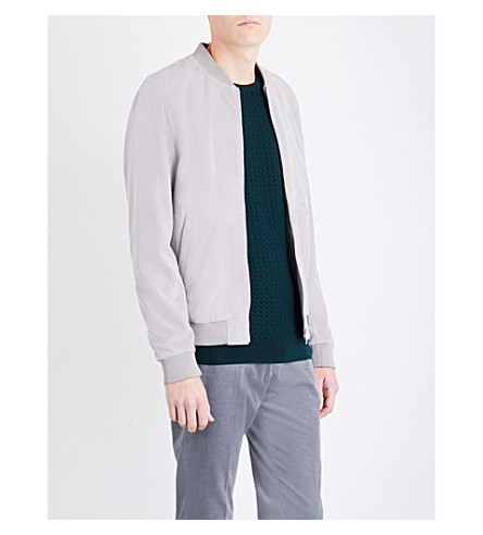 REISS Basse suede bomber jacket (Light+grey