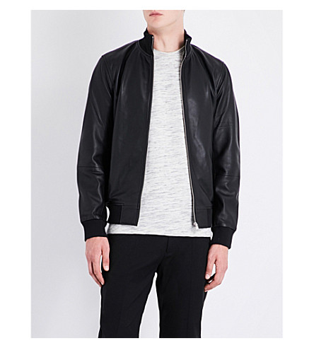REISS Mars stand-collar leather jacket (Black