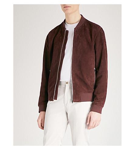 REISS Venice suede bomber jacket (Bordeaux