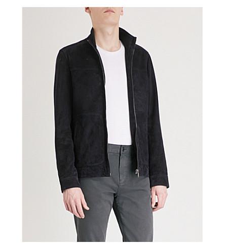 REISS Callum suede jacket (Navy
